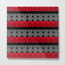 Black red fishnet lace pattern . Metal Print