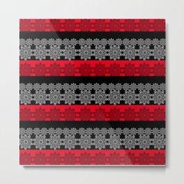 Black red fishnet lace pattern . Metal Print