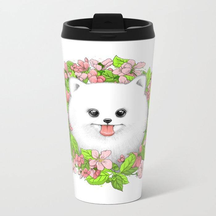 Pomeranian in flowers Metal Travel Mug