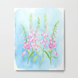 Watercolor Pink Foxgloves Metal Print