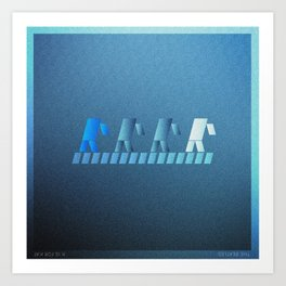 Music in Monogeometry : Band crossing a street Art Print