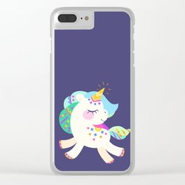 Cute unicorn with colorful mane and tail Clear iPhone Case
