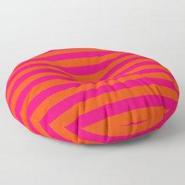 Super Bright Neon Pink and Orange Horizontal Beach Hut Stripes Floor Pillow