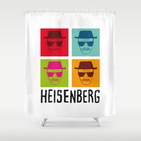 popart Shower Curtains featuring Heisenberg Popart by Nxolab