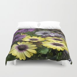 Yellow and Purple African Daisies Duvet Cover