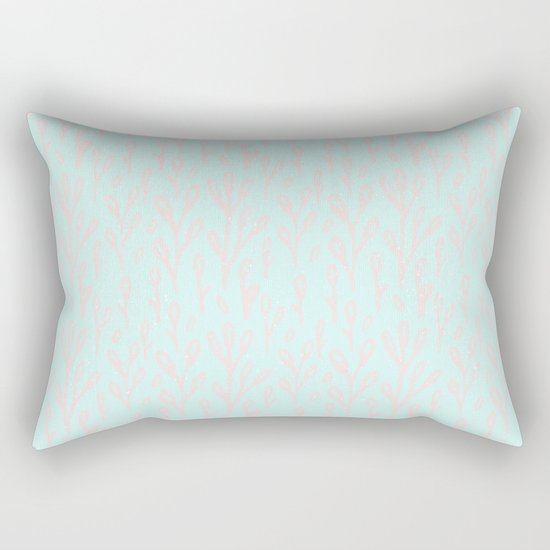 Merry christmas- abstract winter pattern with pink branch and snow Rectangular Pillow