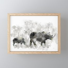 Rhino and Calf Framed Mini Art Print
