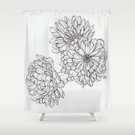 Ink Illustration of Summer Blooms Shower Curtain