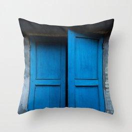 Blue Shutters - Hoi An, Vietnam Throw Pillow