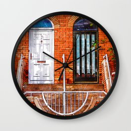 Twin Vintage Doors Dublin, Ireland - For Doors & Travel Lovers Wall Clock