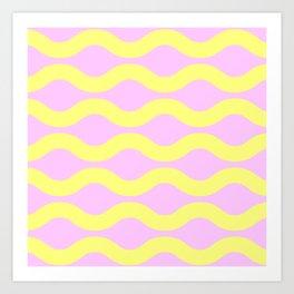 Wavey Lines Yellow & Pink Art Print