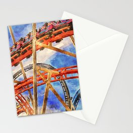 Fun on the roller coaster, close up Stationery Cards