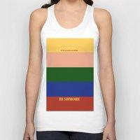 rushmore Tank Tops featuring Rushmore minimalist poster by cinemaminimalist