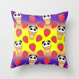Cute funny sweet adorable little baby panda bear ice cream cones with sprinkles and red ripe summer strawberries cartoon bright yellow purple pattern design Throw Pillow
