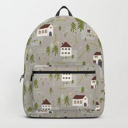 Little Village Church House Vector Pattern Backpack
