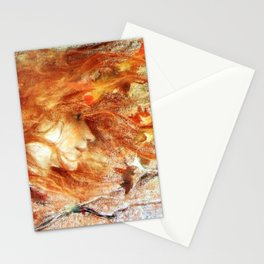 A Gust of Autumn Wind portrait painting by Lucien Levy Dhurmer Stationery Cards