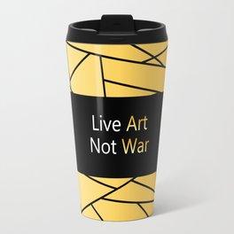 """Gold Fractal Art with black Sign """"Live Art Not War"""" ( Luxury Vintage Collection ) Travel Mug"""