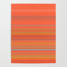 Orange Grey Stripe Design Poster