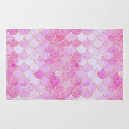 Pink Pearlescent Mermaid Scales Pattern Rug