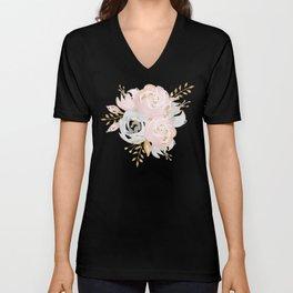 Night Rose Garden Gray Unisex V-Neck