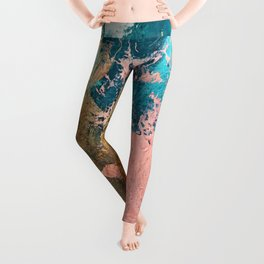 Coral Reef [1]: colorful abstract in blue, teal, gold, and pink Leggings