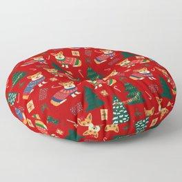 Merry Corgmess- Corgi Celebrate Christmas 2 - Xmas Red Floor Pillow