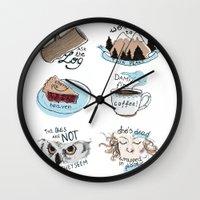 twin peaks Wall Clocks featuring // twin peaks // by // PIGEON //
