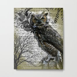 Nature Series Wise Owl By Moon Willow Designs Metal Print
