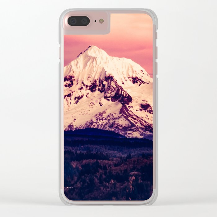 Mt Hood Mountain with Snow Clear iPhone Case