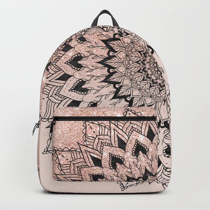 Boho black watercolor floral mandala rose gold glitter ombre pastel blush pink Backpack