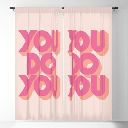 You Do You Block Type Pink Blackout Curtain
