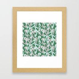 Frosty Canes Green Framed Art Print