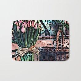 Wicker Basket And Flowers Bath Mat