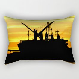 Silhouette of a Fishing Vessel Rectangular Pillow
