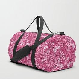 Art Nouveau Seaweed Floral, Deep Coral Pink Duffle Bag