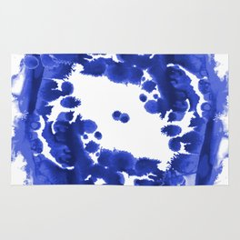 Blue Circle abstract painting enso minimal modern home office dorm college decor Rug