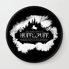Hufflepuff B&W Wall Clock