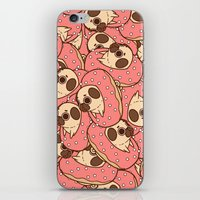doughnut iPhone & iPod Skins featuring Puglie Doughnut by Puglie Pug
