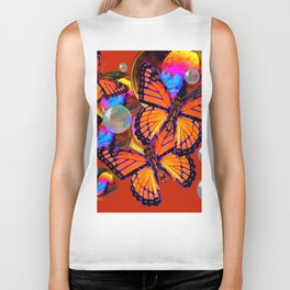 DECORATIVE MONARCH BUTTERFLIES & SOAP BUBBLES  ON TURMERIC  COLOR ART Biker Tank
