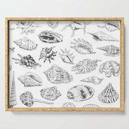 collection of sea shells, black contour on white background Serving Tray