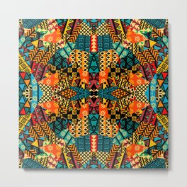 Colored ethnic patchwork mosaic with african motifs Metal Print