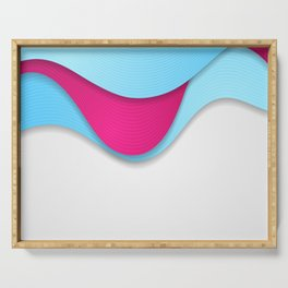 Pink and blue abstract wavy corporate art Serving Tray