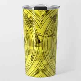 psychedelic geometric circle pattern abstract background in yellow Travel Mug