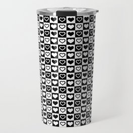 Black And White Hearts in Checkerboard Repeating Pattern Travel Mug