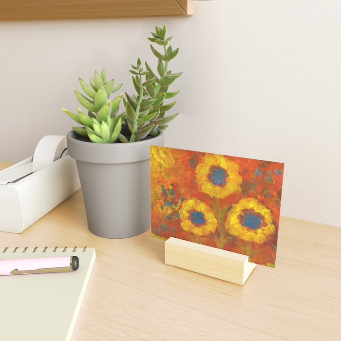 Sunflowers with a golden sun Mini Art Print