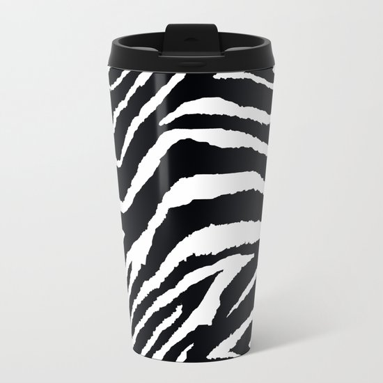 ZEBRA ANIMAL PRINT BLACK AND WHITE PATTERN Metal Travel Mug