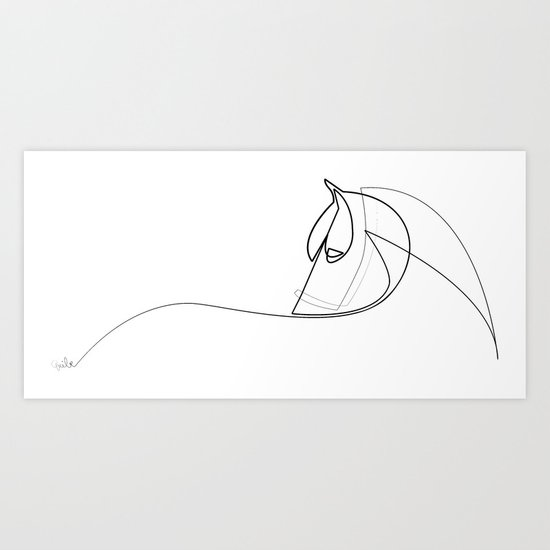 Pony line Art Print
