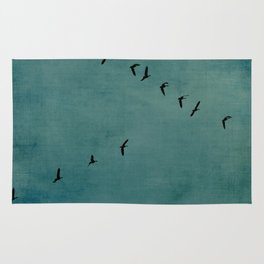 GEESE FLYING - TEAL Rug