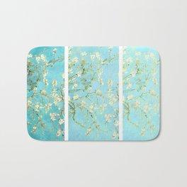 Vincent Van Gogh Almond Blossoms  Panel arT Aqua Seafoam Bath Mat