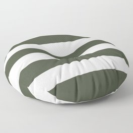 Rifle green - solid color - white stripes pattern Floor Pillow